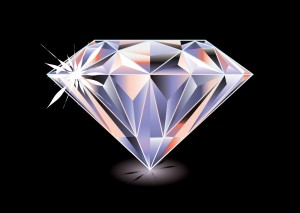 Artistic brightly coloured cut diamond with shadow and reflectio