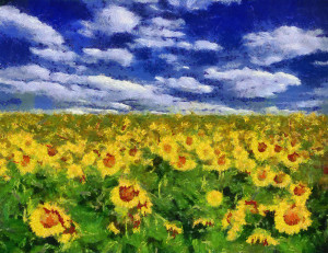 Sunflower field under blue sky background oil painting (Monet Style)